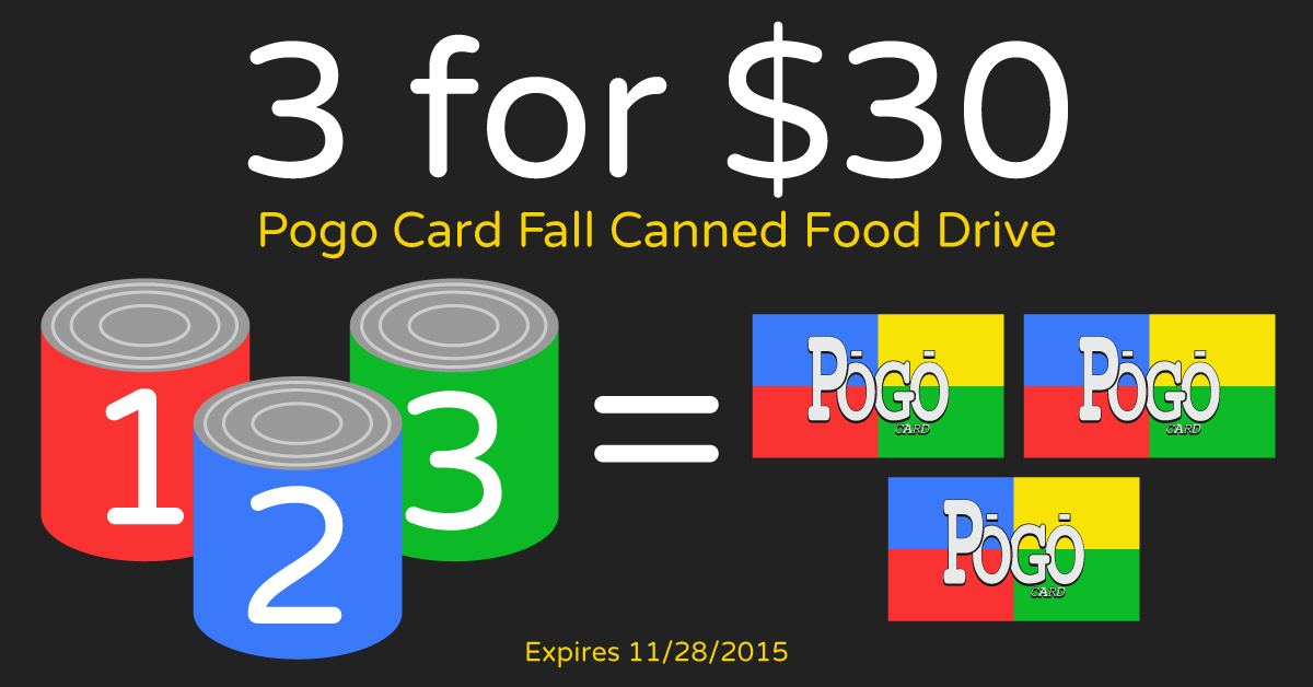 3 for $30 Fall Food Drive